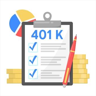 Piano finanziario 401k, investimento in pensione. pensione