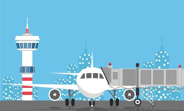 Piano prima del decollo. torre di controllo dell'aeroporto, jetway, terminal building