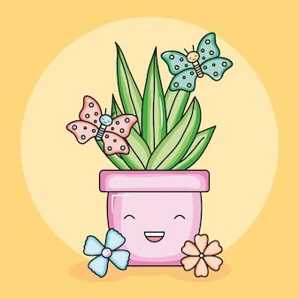 Pianta da appartamento in vaso di ceramica con farfalle in stile kawaii
