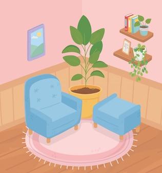 Pianta da vaso domestica dolce della sedia del sofà sulla stanza della struttura delle piante dei libri degli scaffali del tappeto