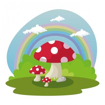 Pianta del fungo nella favola di scena