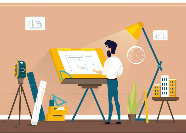 Pianta dell'architetto drawing house project dell'uomo allo studio del disegnatore con lo scrittorio regolabile del tavolo da disegno