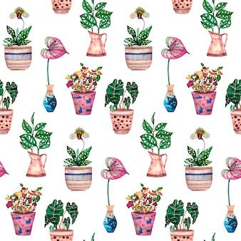 Pianta della casa nell'illustrazione dell'acquerello dei vasi