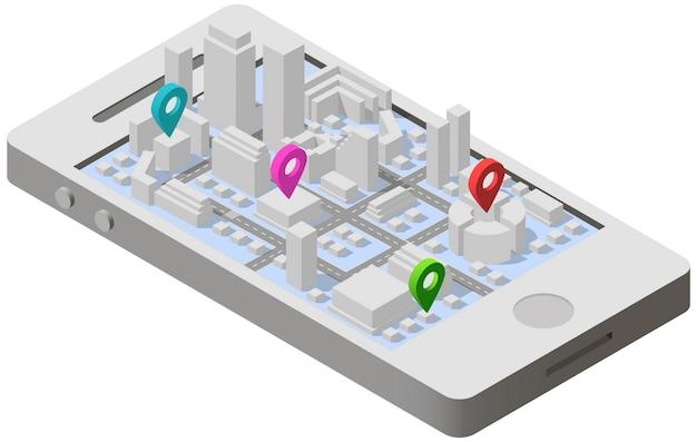 Pianta della città isometrica su smartphone