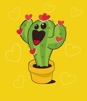 Pianta di cactus felice