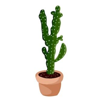 Pianta di cactus in vaso hygge. immagine isolata succulente di stile scandinavo di lagom accogliente