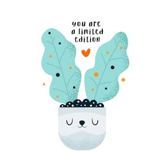 Pianta floreale coniglietto carino. slogan di motivazione positiva. sei un'edizione limitata