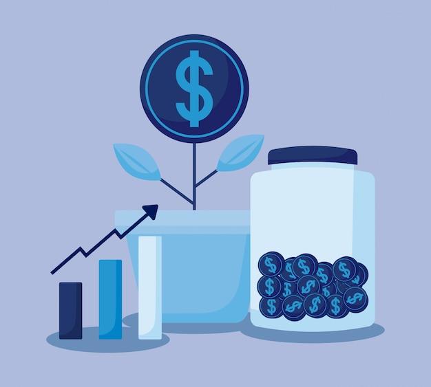 Pianta la moneta con le icone dell'insieme economia finanza