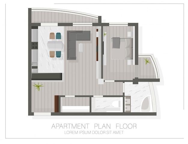 Pianta moderna dell'appartamento con vista dall'alto. schizzo di una casa