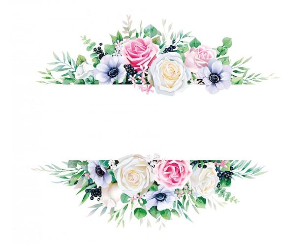 Pianta, rosa bianca e rosa con cornice di rami su sfondo bianco.