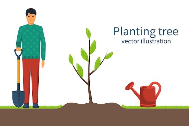 Piantare alberi. giardiniere con pala in mano. concetto di impianto di processo. giardinaggio, agricoltura, cura dell'ambiente. illustrazione design piatto. giovane alberello.