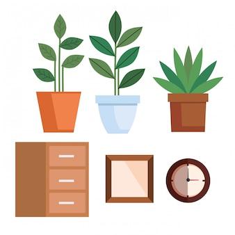 Piante da vaso con mensola in legno e set di orologi