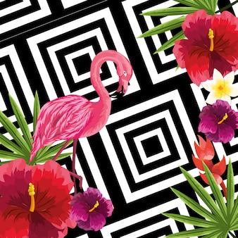 Piante di bellezza e fiori carini con sfondo di fenicottero