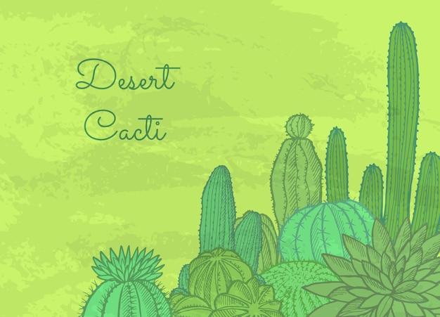 Piante di cactus selvatici con posto per il testo