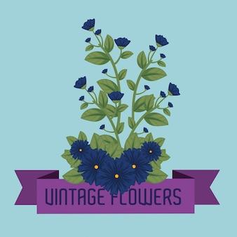 Piante di fiori svegli con foglie e nastro