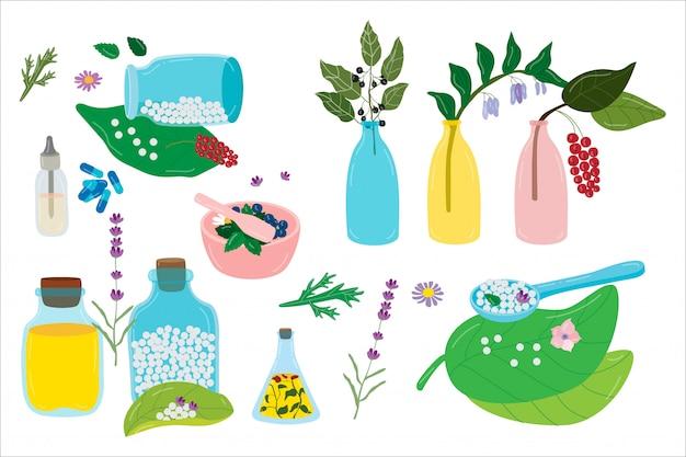 Piante e medicine di omeopatia sull'illustrazione disegnata a mano omeopatica naturale organica isolata.
