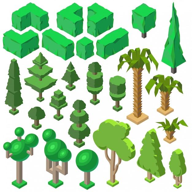 Piante isometriche 3d, alberi, cespugli verdi, abeti, palme e pini