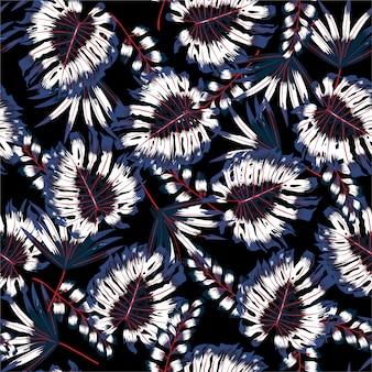 Piante tropicali e foglie nel modello senza cuciture di notte di estate. stile hawaiano disegnato a mano dell'illustrazione. foglie di giungla.