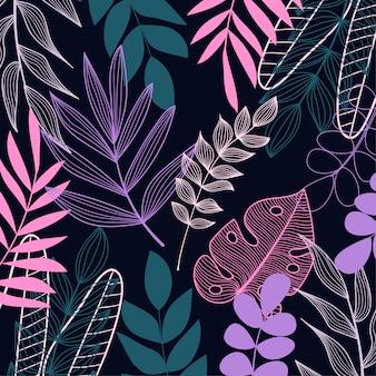 Piante tropicali e foglie su uno sfondo scuro