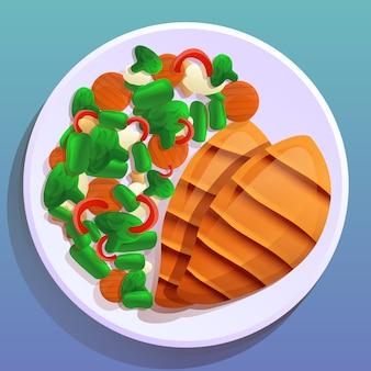 Piastra con bistecca e insalata con verdure in stile cartone animato
