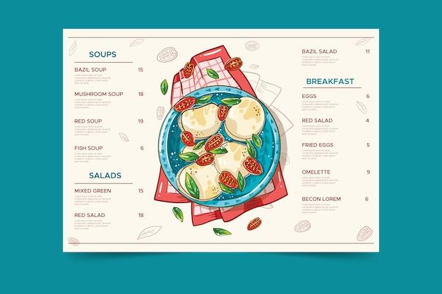 Piastra con menu ristorante cibo sano