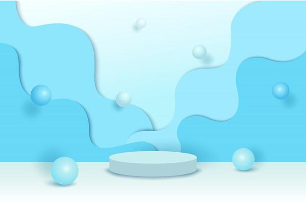 Piattaforma 3d disegno vettoriale con forma d'onda e perla sul blu