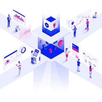 Piattaforma commerciale moderna dell'illustrazione isometrica di colore piano