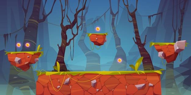 Piattaforma di gioco cartone animato paesaggio forestale, design 2d