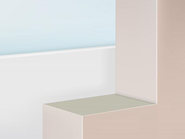 Piattaforma geometrica esposizione del prodotto sfondo, colore rosa pastello e beige. paesaggio
