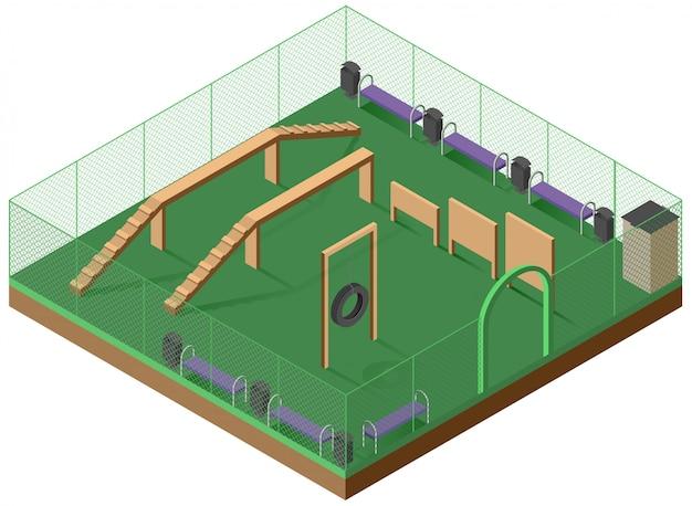 Piattaforma per camminare e addestramento del cane illustrazione isometrica 3d. parco giochi per cani