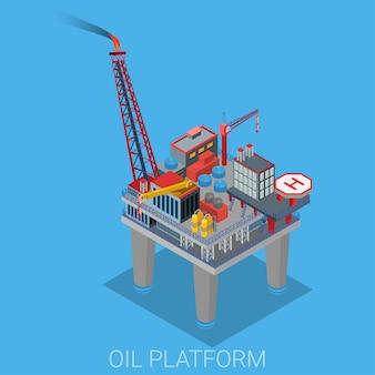 Piattaforma petrolifera con la piattaforma dell'elicottero dell'eliporto nell'illustrazione dell'oceano del mare.