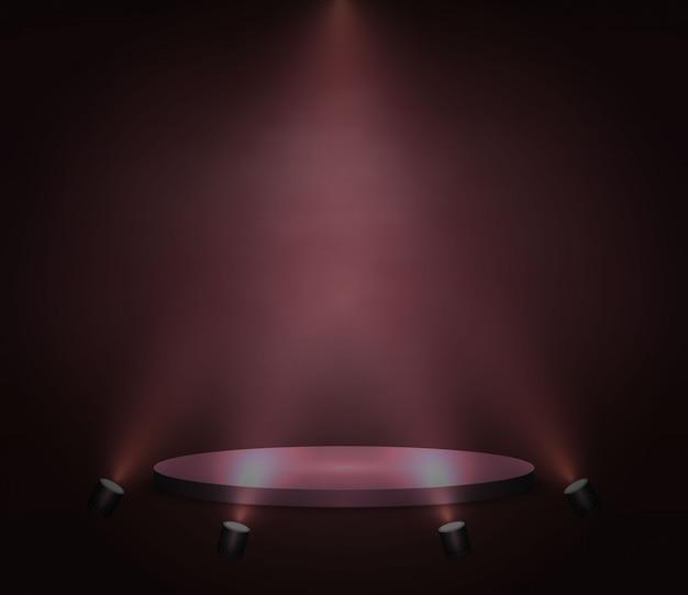 Piattaforma, podio o piedistallo realistici su sfondo rosso