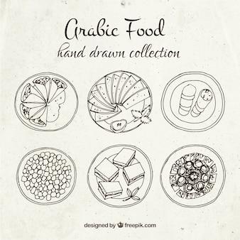 Piatti di cibo arabo disegnati a mano