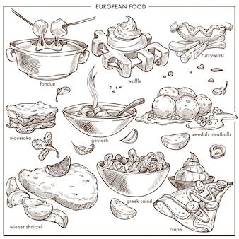 Piatti di cibo cucina europea per modelli di icone schizzo del menu