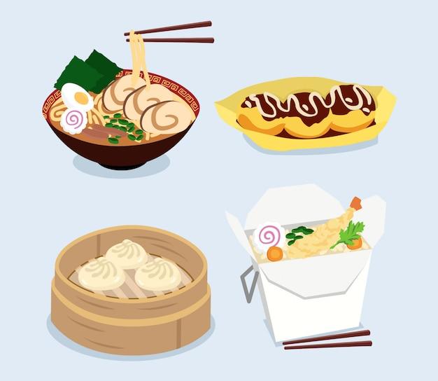 Piatti giapponesi, riso, ramen