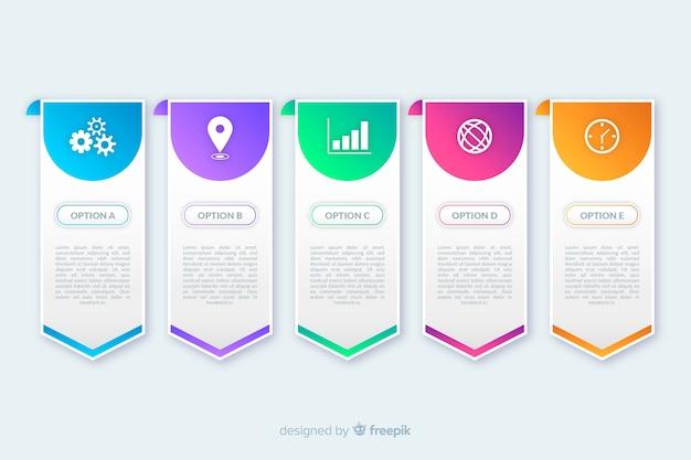 Piatti passaggi infografica colorati