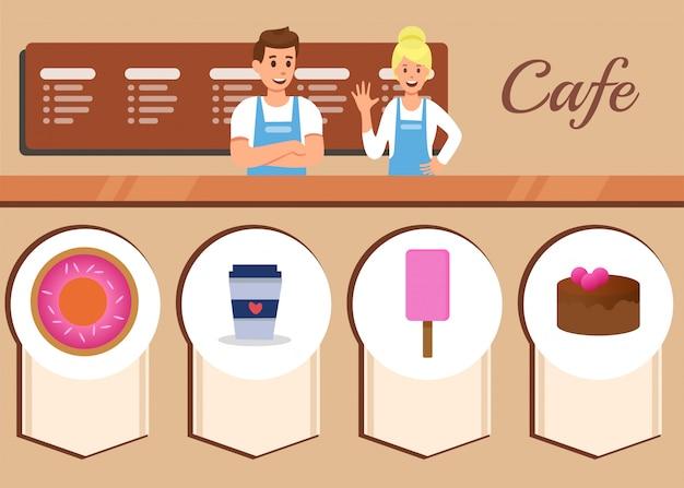 Piatti pubblicitari di servizio di cafe menu piatto