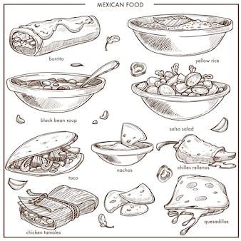Piatti tradizionali della cucina messicana cibo icone vettoriali schizzo per menu del ristorante