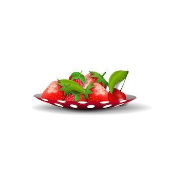 Piattino con fragole isolato
