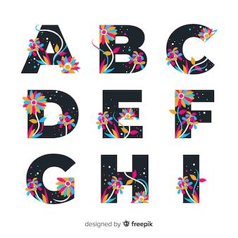Piatto alfabeto floreale