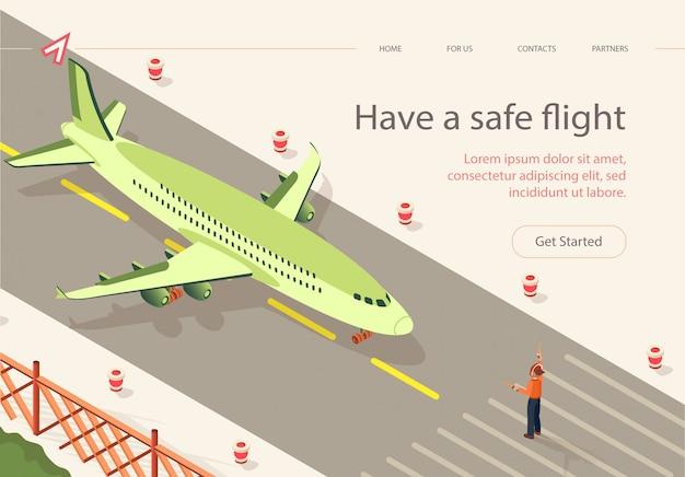 Piatto avere striscia di pista di volo sicuro isometrica.