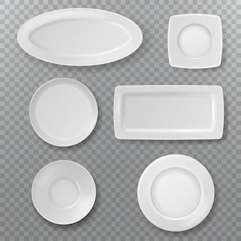 Piatto bianco vuoto. ciotola del piatto della guarnizione della vista superiore dei piatti dell'alimento da sopra gli elementi ceramici della cucina che cucinano porcellana isolata