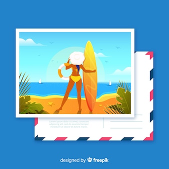 Piatto cartolina tropicale vacanza estiva