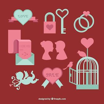 Piatto collezione di san valentino elementi