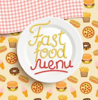 Piatto con un'iscrizione di menu fast food.