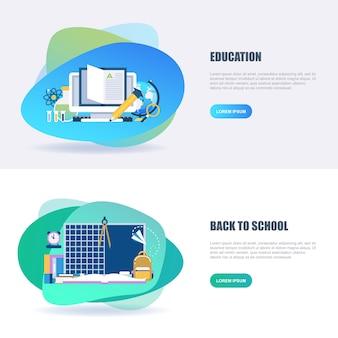 Piatto concetto di educazione online e shool