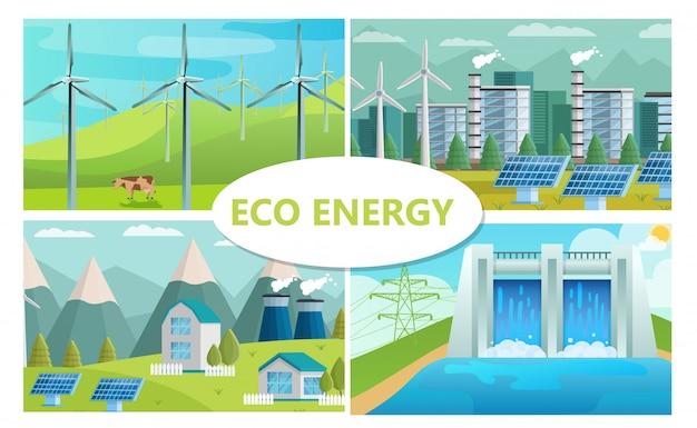 Piatto concetto di energia eco con mulini a vento, fabbrica ecologica di pannelli solari e case stazione idroelettrica