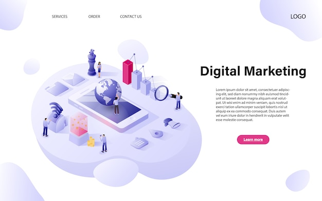 Piatto concetto di marketing digitale isometrica