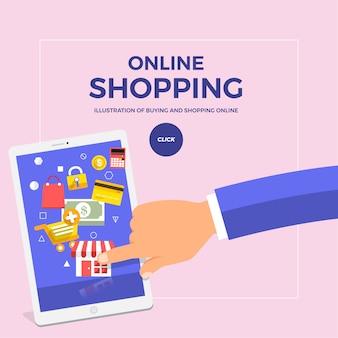 Piatto concetto di shopping online con dito spingere cellulare