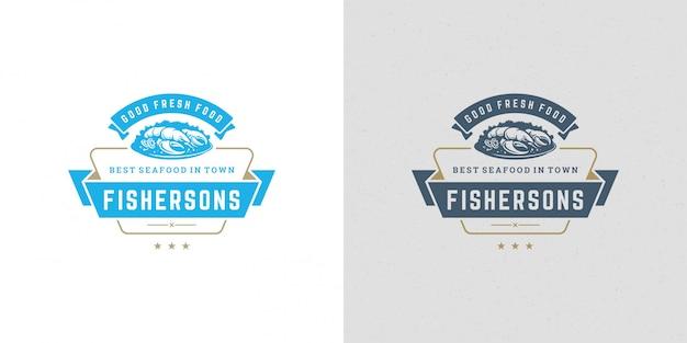 Piatto dell'aragosta di progettazione del modello dell'emblema del mercato ittico del mercato ittico dell'illustrazione di vettore del segno o di logo dei frutti di mare